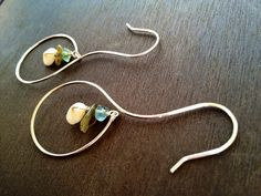 Sterling Silver earrings with puka shell, Labradorite, and Flourite