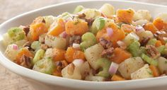 A unique twist on classic summer potato salad, this recipe offers a new way to enjoy some of our favorite holiday flavors - ginger, sweet potatoes, brown sugar and toasted pecans - any time of the year.