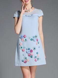 Shop Mini Dresses - Sweet Short Sleeve A-line Crew Neck Appliqued Mini Dress online. Discover unique designers fashion at StyleWe.com.
