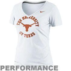 Nike Texas Longhorns Dri-FIT Ladies School Stamp Legend Performance V-Neck T-Shirt - White