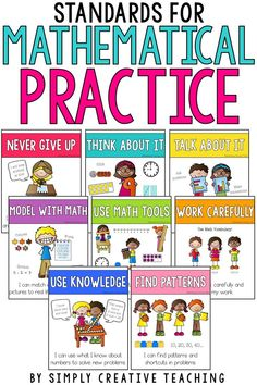 These 8 Standards for Mathematical Practice posters are student friendly math posters for the primary classroom. Teachers will love the I Can Statements included on each poster to help enhance learning and understanding for kids. These posters follow the Common Cores math practices!
