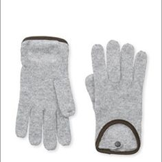 Sophia Cashmere Driving Gloves leather  trimmed. Grey cashmere driving gloves with suede leather trim and button. Wonderfully soft and luxurious. Perfect for the smaller hand. Sophia Cashmere Accessories Gloves & Mittens