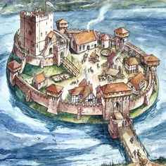 Bathgate Castle as a motte-and-bailey example. Fantasy City, Fantasy Castle, Fantasy Places, Fantasy Map, Medieval Fantasy, Fantasy World, Chateau Medieval, Medieval Castle, Dungeons And Dragons