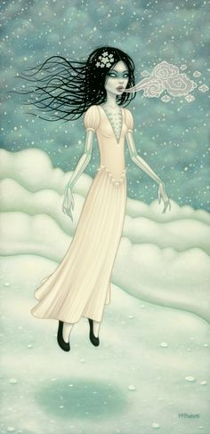 Tara McPherson  The Snow Bride    oil on linen, stretched over panel    40 x 20 inches  (101.6 x 50.8 cm)