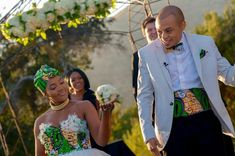 How gorgeous is this South African Zulu bride Nosipho Miya and her handsome new hubby, Demetrius Leiva? The couple looked absolutely divine in their complimenting Ankara inspired wedding dress and suit. Wedding Suits, Wedding Attire, South African Weddings, Latest Ankara Styles, Weeding Dress, Matching Couples, African Design, African Attire, African Fashion