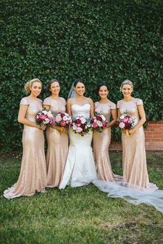 c01b78d0 Bridesmaids in gold sequined dresses|Old Fashioned Gold Glamour| Gold,  Cream, Pink