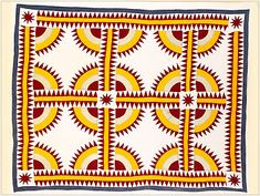 "Crown of Thorns Pattern, Pieced Quilt, Type: Cotton Artist: Made by an unknown forbear in Edith Shepherd""s family Year: c. 1870 Size/Dimensions: 86.5"" x 69.5"""
