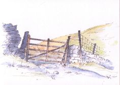 Yorkshire Dales gateway ~ sketch ~ John Edwards