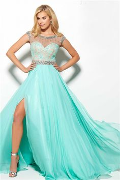 977e16e62984 Flowing A Line High Slit Long Mint Green Chiffon Beaded Prom Dress With Belt