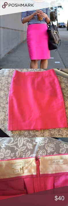 J. Crew hot pink pencil skirt  EUC J. Crew hot pink No. 2 pencil skirt, fun and flirty statement piece !  J. Crew Skirts Pencil