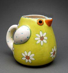 Chartreuse Bird Pitcher: Alison Palmer: Ceramic Pitcher - Artful Home