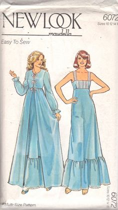 New Look 6072 MAUDELLA Misses Easy Empire Waist Nightgown with Square Nekcline and Dressing Gown Robe womens vintage sewing pattern by mbchills