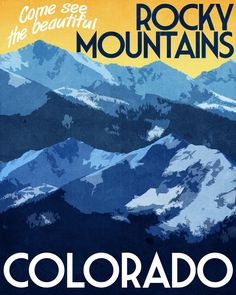 Colorado Travel Print Rocky Mountains Vintage Style Poster in Deep Blue, Yellow, Orange Textures Rocky Mountains, Colorado Mountains, Canada Mountains, Colorado Rockies, Nebraska, Oklahoma, New Mexico, Wyoming, Oh The Places You'll Go