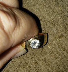 Round Solitaire Diamond engagement ring 14k yellow gold wide band size 8 1/2  #Solitaire