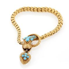 Antique Victorian gold, turquoise and diamond serpent bracelet, 1860; the serpent symbolises eternity.