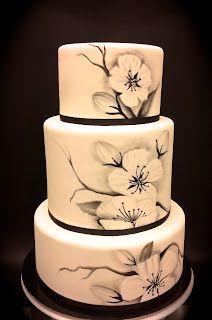 Black and white painted-wedding Cake