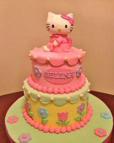 Hello Kitty cake w/ gumpaste kitty topper