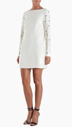 Long Sleeve Shift Dress with Grommets