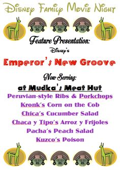 .: His frugal Servant :.: Disney Family Movie Night: Emperor's New Groove