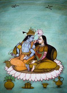 Vishnu with Lakshmi seated on a lotus throne Artist: Mahaveer SwamiThe Art of Bikaner – Mahaveer Swami (via Museum Of Sacred Art)