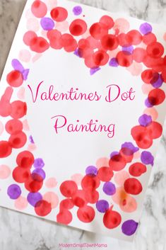 Valentines Dot Painting - Here is a simple and fun art project for your little ones to do for Valentines day. Valentine's Day Crafts For Kids, Craft Projects For Kids, Toddler Crafts, Art For Kids, Craft Ideas, Heart Projects, Crafty Projects, Homemade Valentines, Valentines Day Party
