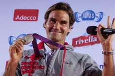 Roger Federer with his Olympic Silver medal, London 2012