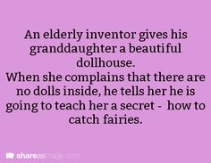 An elderly inventor gives his granddaughter a beautiful dollhouse. When she complains that there are no dolls inside, he tells her his is going to teach her a secret - how to catch fairies.