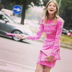 Details in street style. Helena Bordon wearing Moschino at Milan Fashion week  Spring 2015.