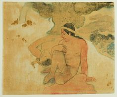 Paul Gauguin  French, 1848-1903    Aha Oe Feii? (What! Are You Jealous?), 1894    Watercolor monotype, with pen and red and black ink on tan Japanese vellum  195 x 232 mm
