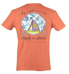 """When the open sea beckons, just don this shirt and remember """"Life is good on your boat!"""" Simply Southern is a preppy t-shirt company from North Carolina. Simply Southern Shirts, T Shirt Company, Just Don, Preppy, Life Is Good, Boat, Good Things, North Carolina, Mens Tops"""