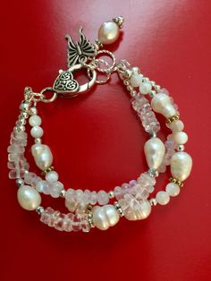 Pearl,moonstone, mother of pearl and crystal quartz bracelet