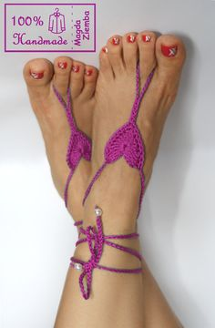 Orchid HEART Crochet BAREFOOT Sandals, steampunk, victorian lace, sexy, yoga, anklet ,wedding, beach or pool party