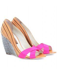 mytheresa.com - Rupert Sanderson - KIBO Neon Pink - Peep Toe Wedges - Leather