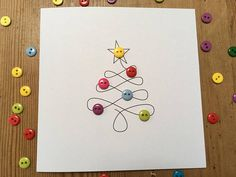 Christmas Card – Christmas Tree with Button Baubles – Paper Handmade Greeting Card – Holiday Card – Etsy UK Carte Christmas Card Packs, Christmas Card Crafts, Homemade Christmas Cards, Christmas Tree Cards, Simple Christmas, Homemade Cards, Handmade Christmas, Holiday Cards, Button Christmas Cards