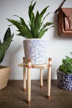 Finishing off the month of woodworking with this pretty and simple copper and wood plant stand! It's perfect to highlight your favorite plant baby. Wooden Plant Stands, Diy Plant Stand, Plant Box, Hanging Plants, Indoor Plants, Indoor Outdoor, Indoor Garden, Concrete Leaves, Target Rug