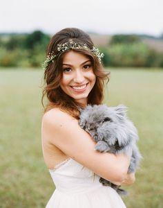 bride with fuzzy bunny