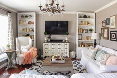 love this minus chandelier Spring-Living-Room-7