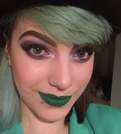 Riddler inspired makeup! Purple eyes using @urbandecay Electric Palette and Lips by Jeffree Star