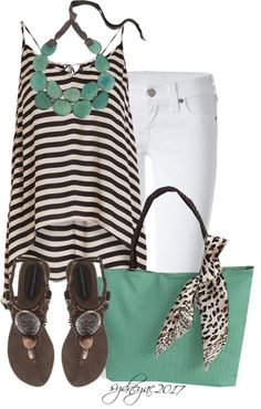 "Outfit Brown Leopard Print Black White Mint Green ""Stripes & Dots"" by sydneyac2017 on Polyvore"