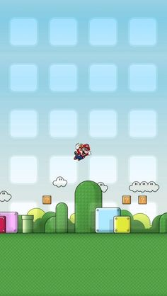!!TAP AND GET THE FREE APP! Shelves Icons Super Mario Nintendo Game Homescreens Funny Colorful HD iPhone 5 Wallpaper