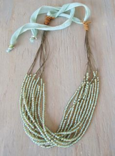 Multi layered necklace 'Hang Ten- Sweet Seafoam'  olive green, sky blue, mint, artisan silver, silk, leather, beach boho, adjustable. $82.00, via Etsy.