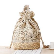 2015 Con Cordón bolsas de playa de Paja Crochet Floral Patrón hecho a mano de Paja Playa de Verano Bolsos de Hombro Dobles L59(China (Mainland))