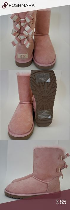 Ugg Women's Pink Bailey Bow Stripe Boots Super cute pink Uggs! Never worn with tags still attached to bottom. UGG Shoes Winter & Rain Boots