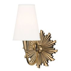 Hudson Valley Lighting Bleecker 1 Light Wall Sconce in Aged Brass with White Faux Silk Shade 5591-AGB-WS