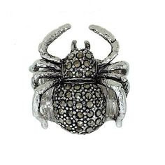 Three Dimensional Marcasite Large Creepy Spider on Web Fashion Ring for Halloween
