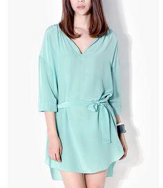Belt Waist Long Hem Silk Dress-zeniche.com SKU aa0194