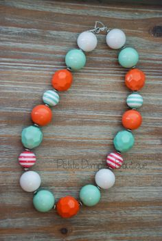 Mint and Coral Chunky Necklace- Kids necklace , adult Necklace on Etsy, $18.00