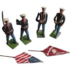Vintage Britains American Marines with Flags from suzandentryantiques on Ruby Lane
