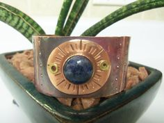 Copper Cuff with Deep Blue Stone by BrazinHussyStudio on Etsy, $75.00