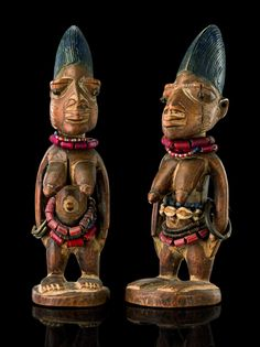 "Africa |  Female pair of twin figures ""ere ibeji"" from the Yoruba people, Abeokutu area, Nigeria 